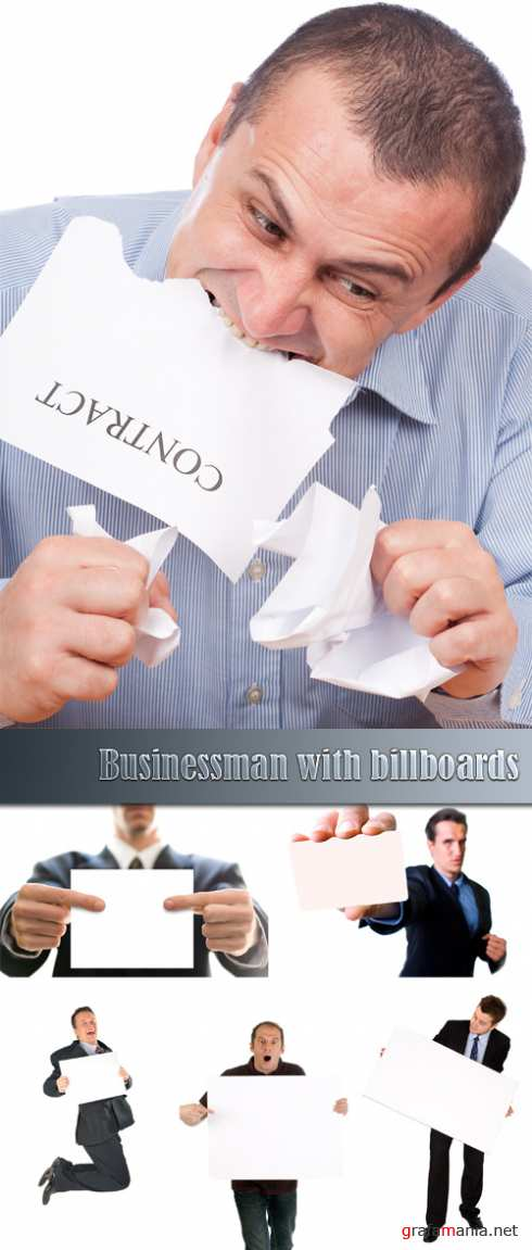 Businessman with billboards