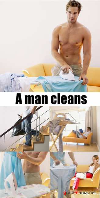 A man cleans