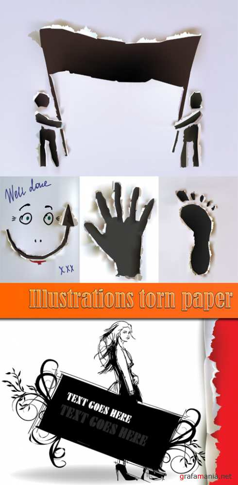 Illustrations torn paper
