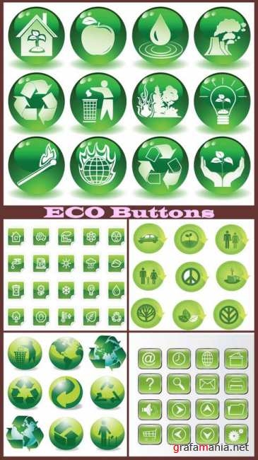 ECO Buttons vector collection