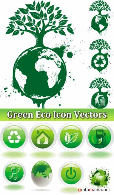 Green Eco Icon Vectors