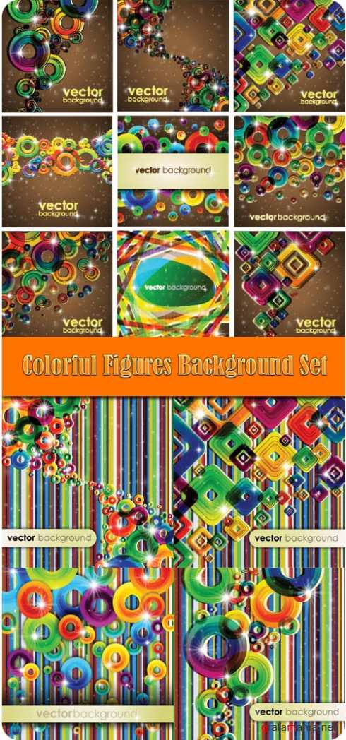 Colorful Figures Background Set