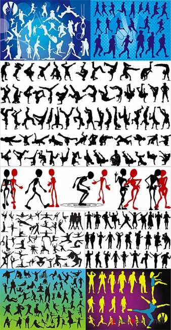 Action movement silhouettes