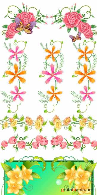 Stock vector - Flowers Design Clipart