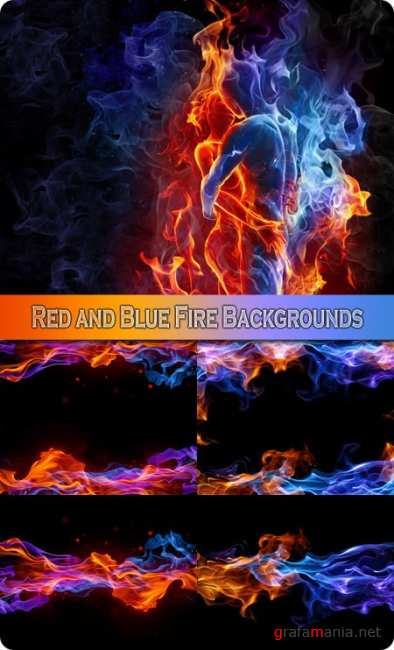 Red and Blue Fire Backgrounds - Stock Photos