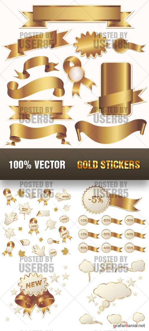 Stock Vector - Gold Stickers