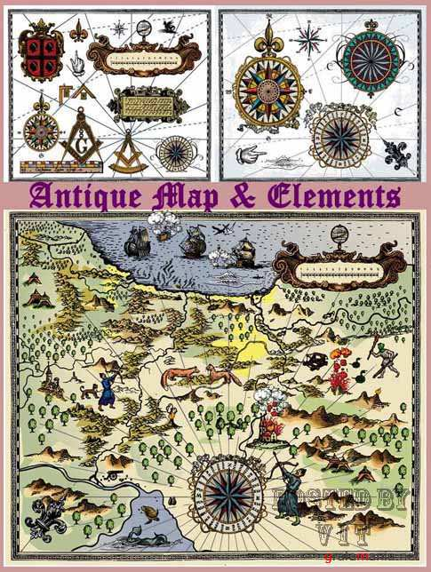Old Map and Elements 14