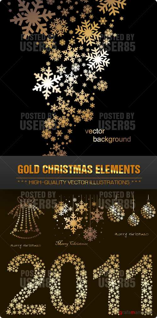 Stock Vector - Gold Christmas Elements