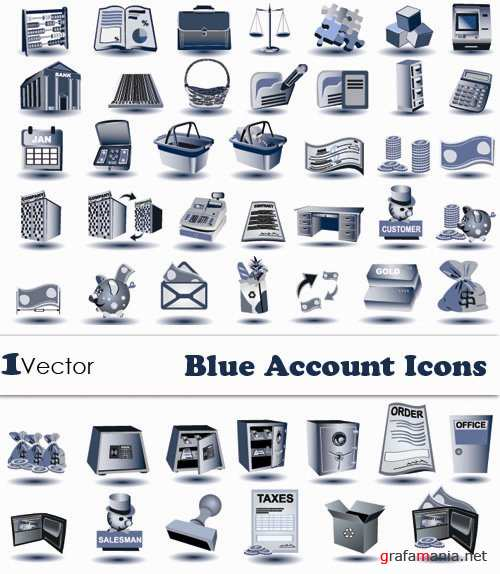 Blue Account Icons Vector