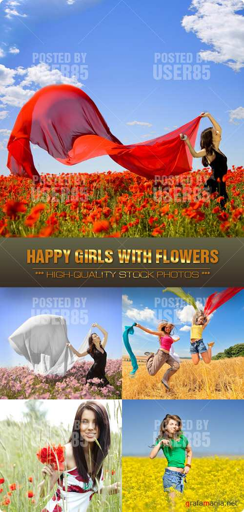 Stock Photo - Happy Girls with Flowers