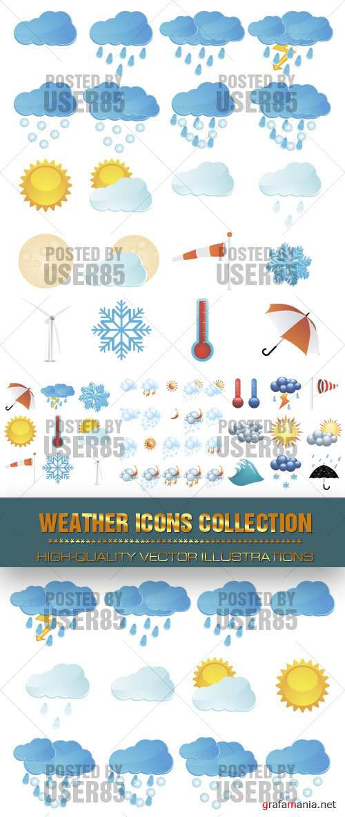 Stock Vector - Weather Icons Collection