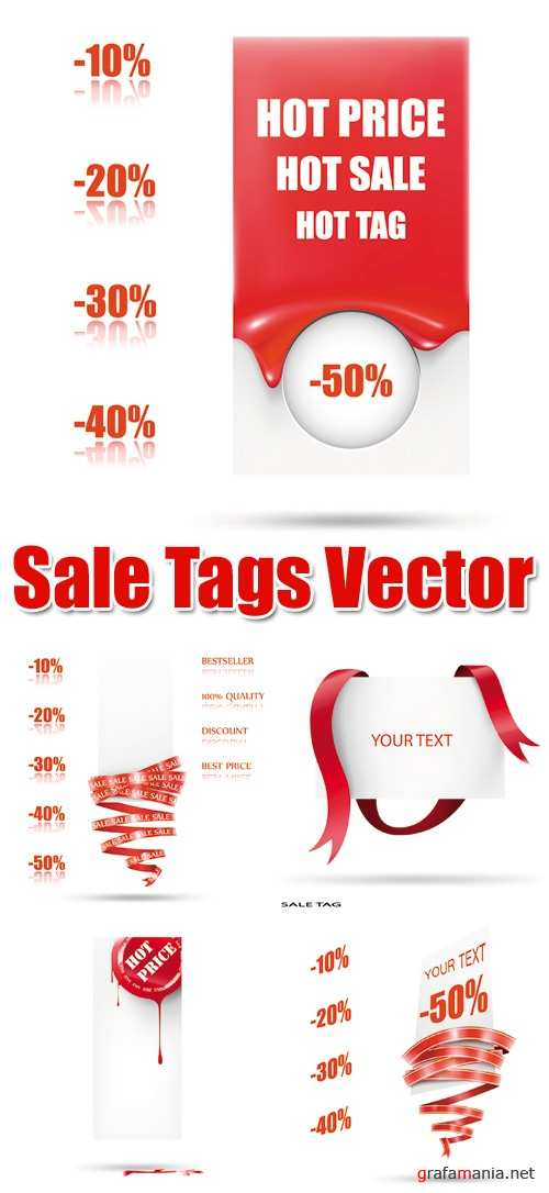Red Sale Tags Vector
