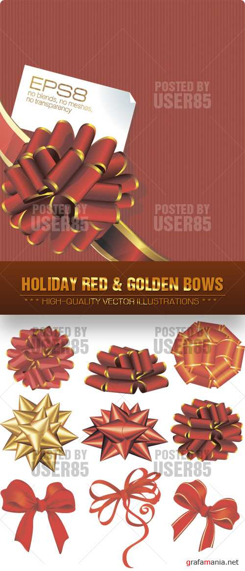 Stock Vector - Holiday Red & Golden Bows