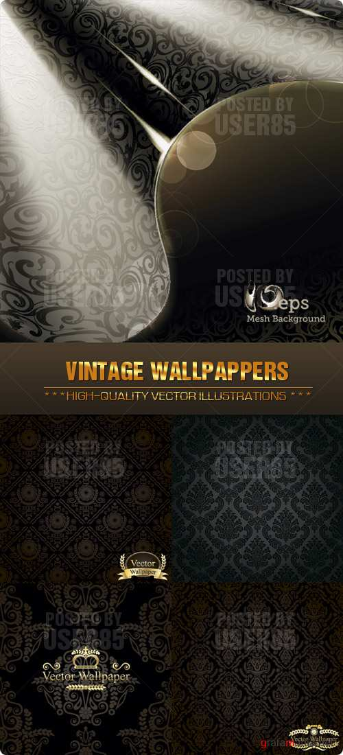 Stock Vector - Vintage Wallpappers