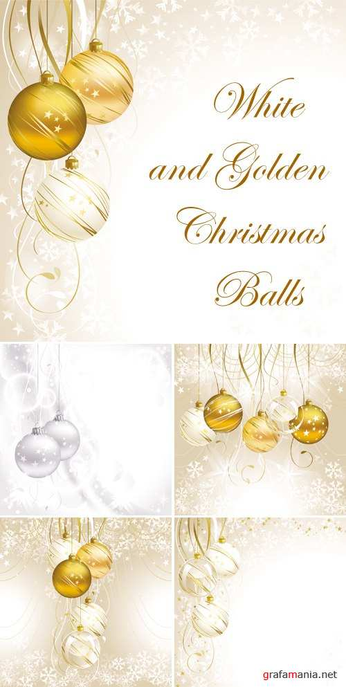 White and Golden Christmas Balls Vector