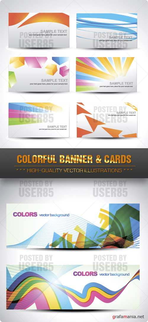 Stock Vector - Colorful Banner & Cards