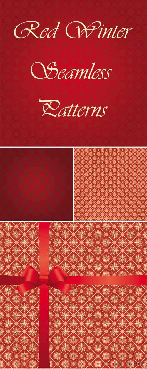 Red Winter Seamless Patterns