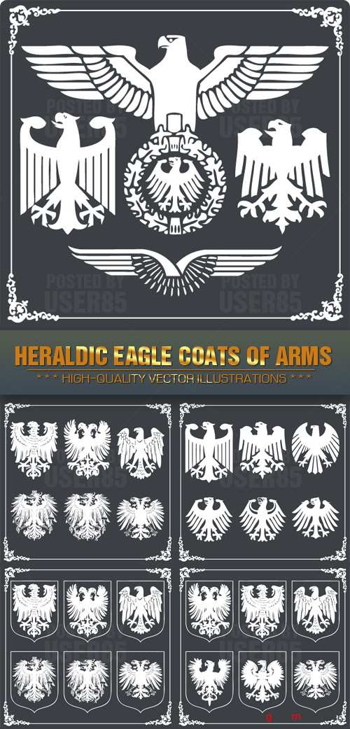 Stock Vector - Heraldic Eagle Coats Of Arms