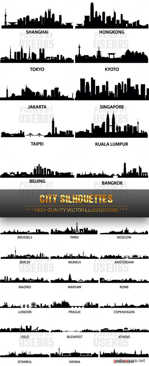 Stock Vector - City Silhouettes