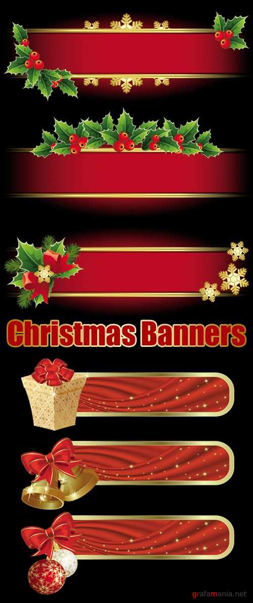 Red Christmas Banners Vector 2