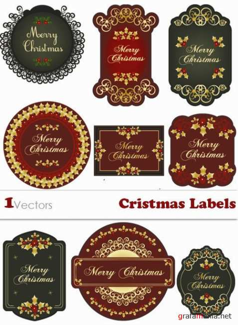 Cristmas Labels Vector