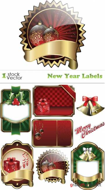 Stock Vector - New Year Labels