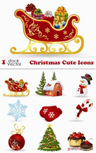 Stock Vector - Christmas Cute Icons