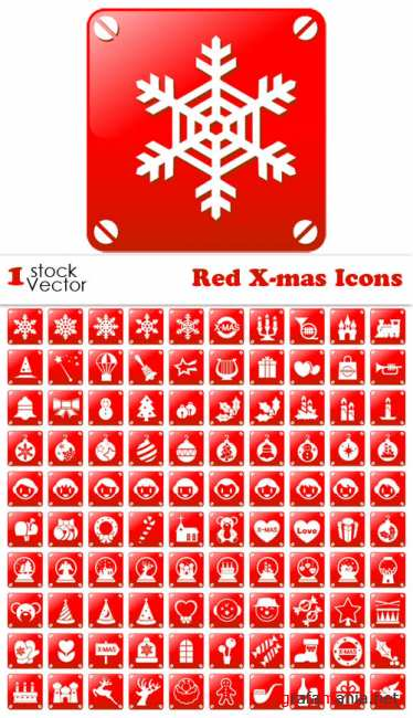 Stock Vector - Red X-mas Icons