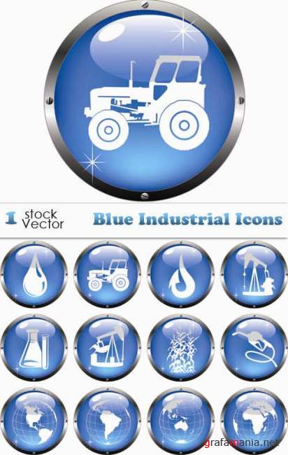 Stock Vector - Blue Industrial Icons
