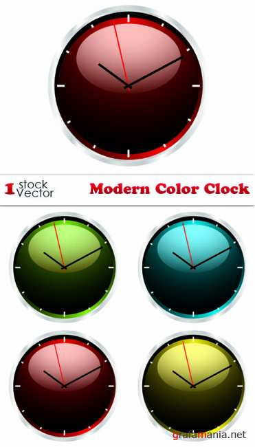 Stock Vector - Modern Color Clock