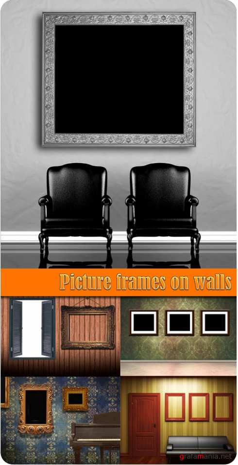 Picture frames on walls