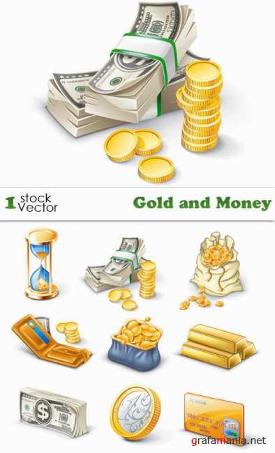 Stock Vector - Gold and Money