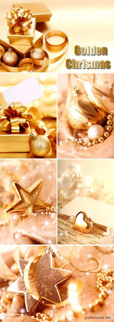 Stock Photo - Golden Christmas and New Year