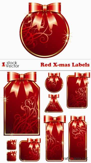 Red X-mas Labels Vector