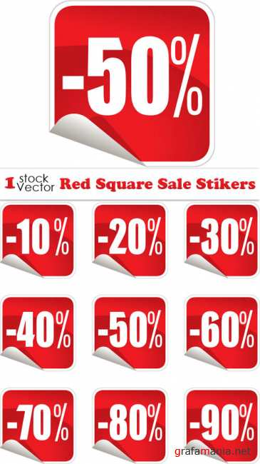 Red Square Sale Stikers Vector