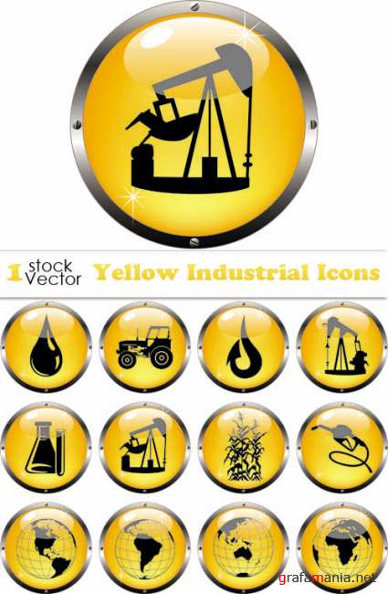 Yellow Industrial Icons Vector
