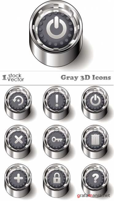 Gray 3D Icons Vector