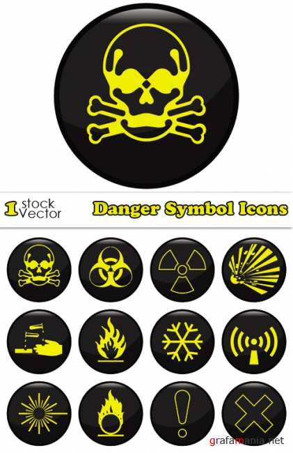 Danger Symbol Icons Vector