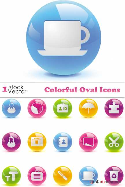 Colorful Oval Icons Vector