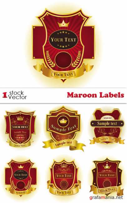 Maroon Labels Vector