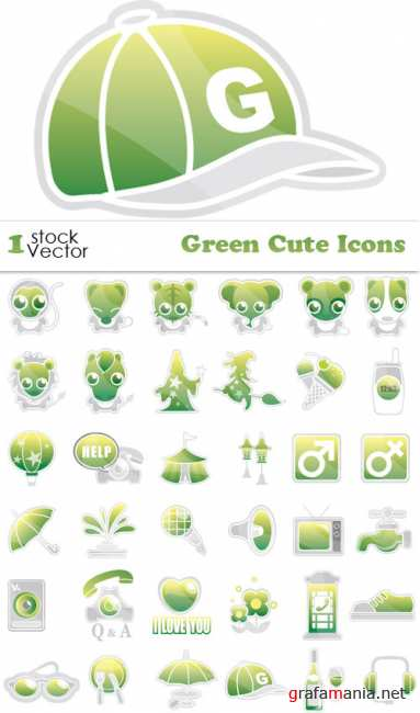Green Cute Icons Vector