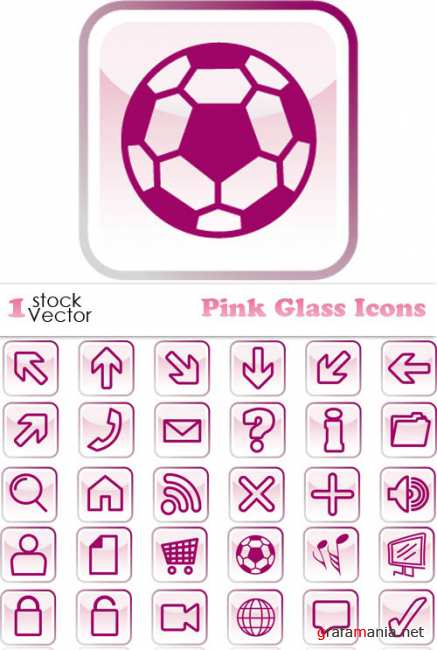 Pink Glass Icons Vector