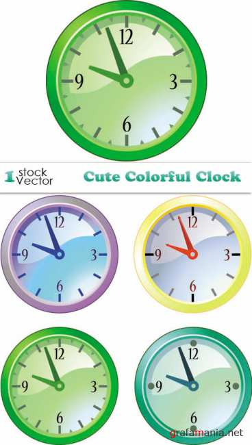 Cute Colorful Clock Vector