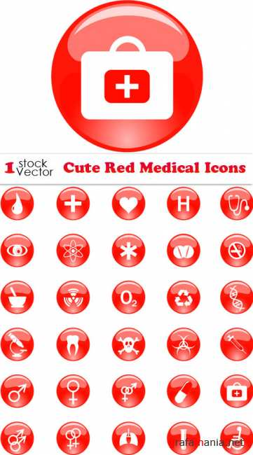 Cute Red Medical Icons Vector