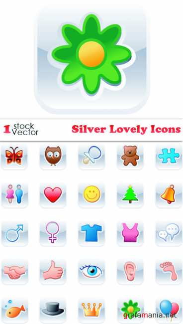 Silver Lovely Icons Vector