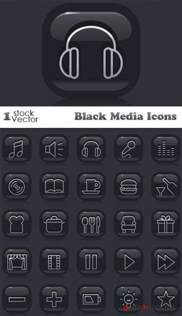 Black Media Icons Vector