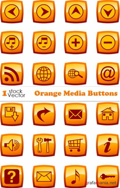 Orange Media Buttons Vector