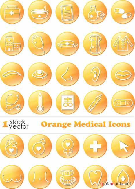 Orange Medical Icons Vector