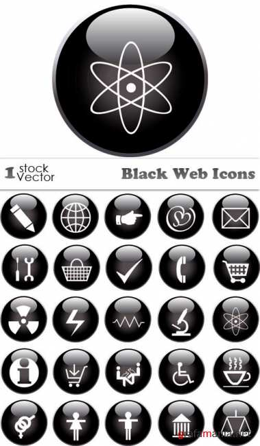 Black Web Icons Vector