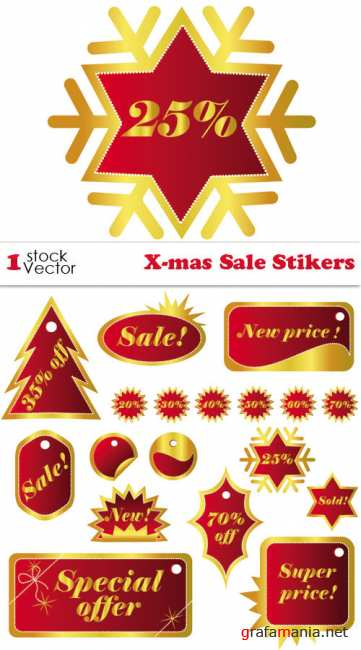X-mas Sale Stikers Vector